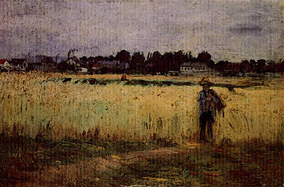 Morisot Berthe In The Wheat Fields At Gennevilliers Poster by Berthe Morisot