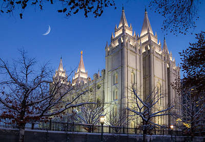 Mormon Temple In Winter Poster by Utah Images