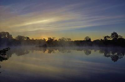 Morning Arrives At The Red Granite Quarry Poster by Carol Toepke