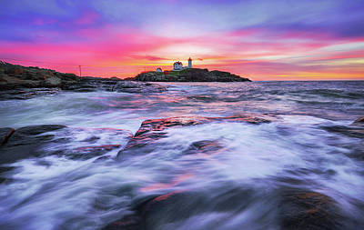 Morning At Nubble Light Poster