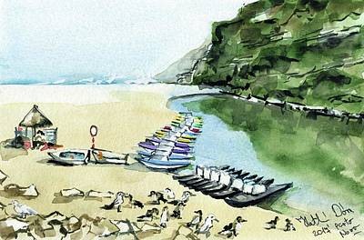 Poster featuring the painting Morning At Porto Novo Beach by Dora Hathazi Mendes