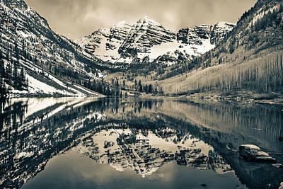 Morning At The Maroon Bells - Aspen Colorado - Sepia Poster by Gregory Ballos