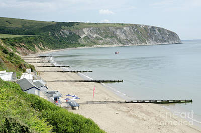 Morning Bay Looking Up Swanage Bay On A Summer Morning Beach Scene Poster by Andy Smy