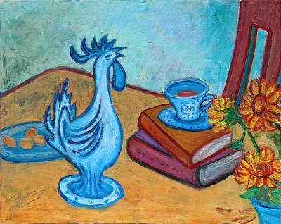 Poster featuring the painting Morning Coffee Rooster by Xueling Zou