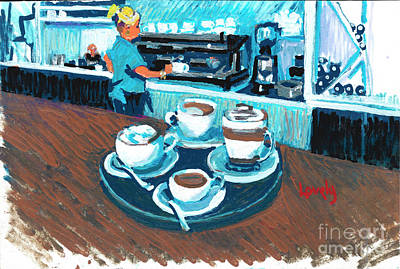 Morning Coffees Poster by Candace Lovely