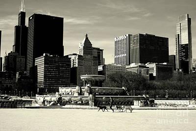 Morning Dog Walk - City Of Chicago Poster