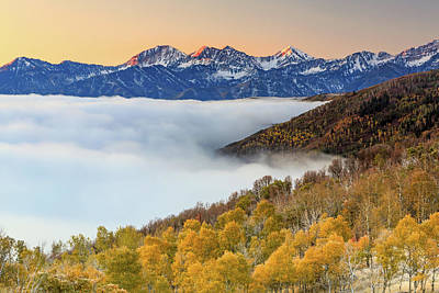Morning Fog In The Southern Wasatch. Poster
