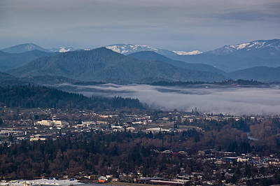 Morning Fog Over Grants Pass Poster by Mick Anderson