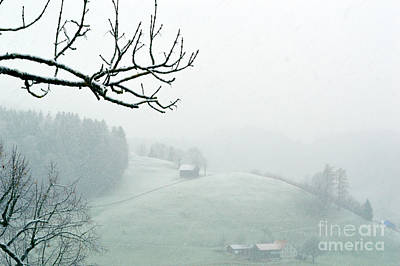 Morning Fog - Winter In Switzerland Poster by Susanne Van Hulst