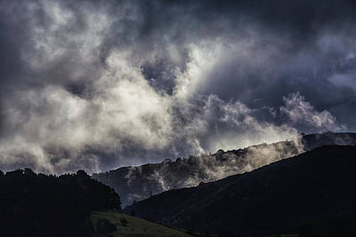 Morning Fog,mist And Cloud On The Moutain By The Sea In Californ Poster by Jingjits Photography