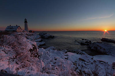 Morning Glow At Portland Headlight Poster