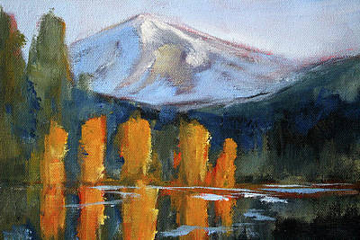 Poster featuring the painting Morning Light Mountain Landscape Painting by Nancy Merkle