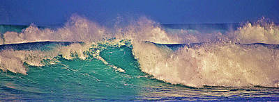 Morning Light On Breaking Waves Poster