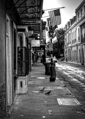 Morning On St. Ann Street In Black And White Poster by Chrystal Mimbs