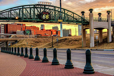 Poster featuring the photograph Rt 66 Sunrise - Tulsa Oklahoma's Route 66 Sign by Gregory Ballos