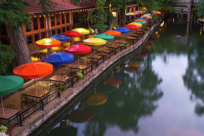 Poster featuring the photograph Morning On The San Antonio Riverwalk by Gregory Ballos