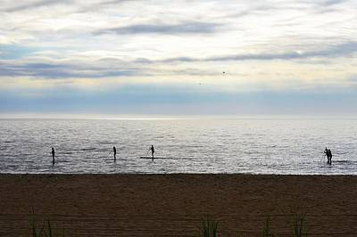 Morning Paddleboarders Poster by Kim Bemis