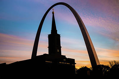 Morning Silhouettes - St. Louis Gateway Arch And The Old Cathedral At Sunrise Poster by Gregory Ballos
