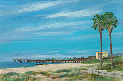 Morning Stroll At The Ventura Pier Poster by Tina Obrien