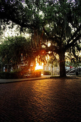 Morning Sun On The Bricks Of Savannah Poster