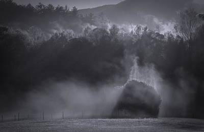 Morning Sun Rising Fog Cades Cove Poster by Dan Sproul