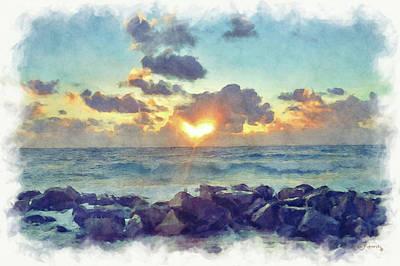 Morning Sun Watercolor Poster