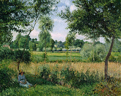 Morning Sunlight Effect, Eragny Poster by Camille Pissarro