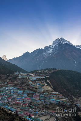 Poster featuring the photograph Morning Sunrays Namche by Mike Reid