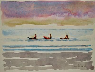 Morning Surfers 8-16-17 Julianne Felton Poster