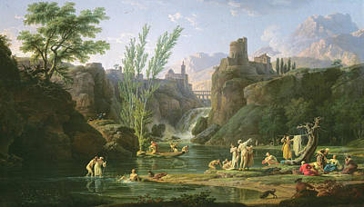Morning  The Bathers Poster by Claude Joseph Vernet