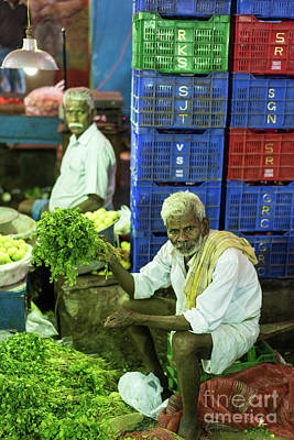 Morning Vegetables Market In India Poster