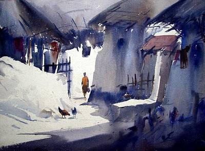 Poster featuring the painting Morning Village Light by Samiran Sarkar