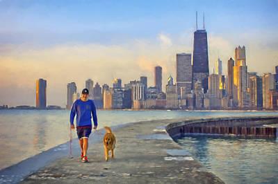 Morning Walk - 1 - Pier - North Avenue Beach  - Chicago Poster