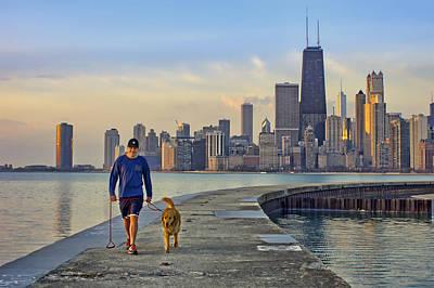 Morning Walk 2 - North Avenue Beach - Pier - Chicago Poster