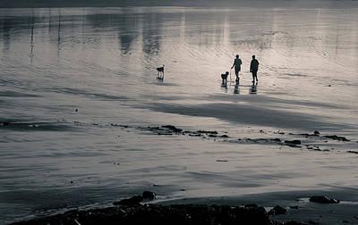 Morning Walk, Gooch's Beach, Kennebunk, Maine Poster