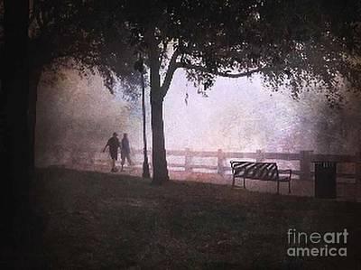 Morning Walk In Fog Poster