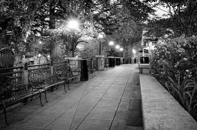 Morning Walk In Gatlinburg Tennessee In Black And White Poster