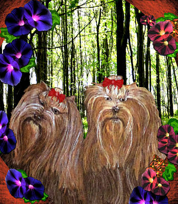 Poster featuring the digital art Morning Yorkies by Michelle Audas