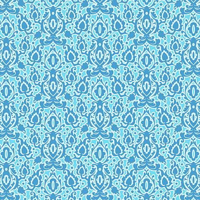 Moroccan Beach Blue Casbah Damask Poster
