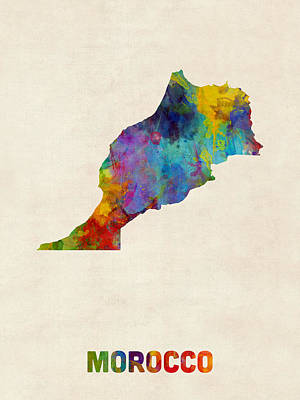 Morocco Watercolor Map Poster by Michael Tompsett