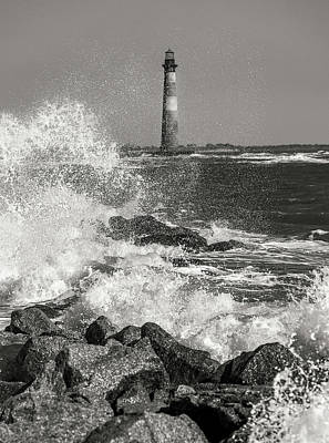 Morris Island Lighthouse Waves Against Rocks Poster by Donnie Whitaker