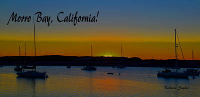 Morro Bay California Abstract Sunset Poster by Barbara Snyder
