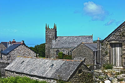 Morvah Church Through The Rooftops Poster