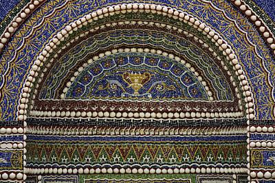 Mosaic And Shell Fountain Getty Villa Malibu California Poster by Teresa Mucha