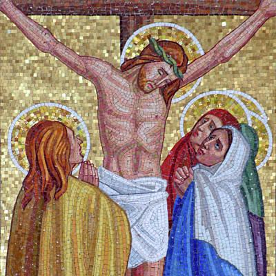 Mosaic Crucifixion  Poster by Munir Alawi