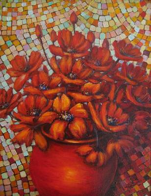 Mosaic Flowers Poster