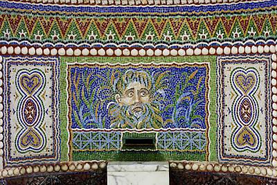 Mosaic Fountain At Getty Villa 3 Poster by Teresa Mucha
