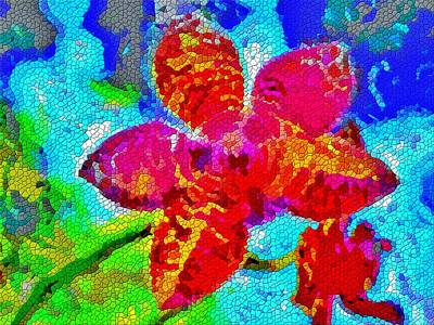 Mosaic Orchid Poster