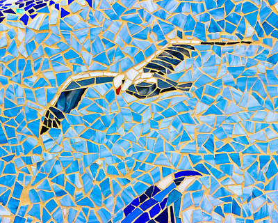 Mosaic Seagull Poster by Colleen Kammerer