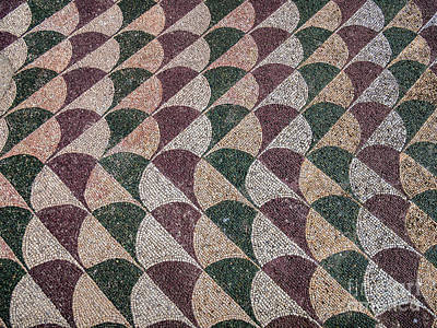 Mosaic Tiles In Baths Of Caracalla In Ancient Rome, Italy Poster